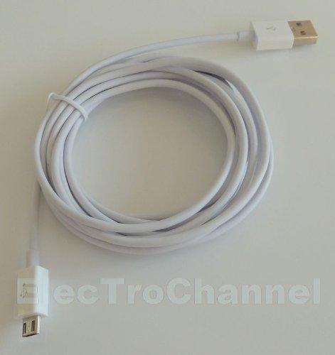 ElecTroChannel - Micro Usb Kabel 2.0 Ladekabel Ladegerät Datenkabel KFZ Auto A-Stecker auf Micro-B-Stecker typ A auf B Weiss White für Haus Steckdose und KFZ Auto für SAMSUNG S4 i9500 i9505 LTE S3 i9300 i9305 HTC ONE M7 Sony Xperia Z, Z1 , Xperia E, Xperia E Dual, Xperia V, Xperia J, Xperia T, Xperia Miro, Xperia Tipo Dual, Xperia Ion, Xperia Go, Xperia P, Xperia U, Xperia Sola, Xperia S, Xperia Z Ultra, Xperia Z1 LG P760 Optimus L9 E400 L3 Nokia wie AC-10e DC-6 Lumia Samsung Galaxy I9000 I9100