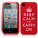 iPhone 4 / iPhone 4G Keep Calm & Carry On Lasered Silicone Skin Case - Red with Screen Protector PART OF THE QUBITS ACCESSORIES RANGEby Qubits
