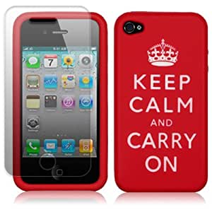 iPhone 4 / iPhone 4G Keep Calm & Carry On Lasered Silicone Skin Case - Red with Screen Protector PART OF THE QUBITS ACCESSORIES RANGE