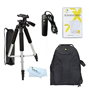 Tripod Accessory Bundle Kit For Nikon Df, D5300, D3300, D5200 D3200 D3100 D5100 D7100 D600 D610 Digital SLR Camera Includes 57 Inch Pro Tripod + Remote Shutter Release + Deluxe BackPack Case + 3 Pack LCD Screen Protectors