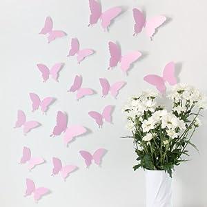 """Wandkings """"Mariposas en estilo 3D"""" de color ROSA para decorar paredes, un set de 12 MARIPOSAS con puntos adhesivos para fijarlas marca Wandkings.de en BebeHogar.com"""