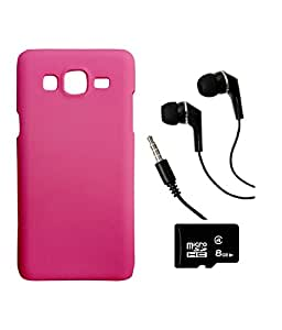 SAMSUNG Galaxy J2 PRINTZ Pink Hard Back Case Cover With 8 GB MEMORY CARD AND 3.5mm Super Sound Quality Earphone with Mic Combo