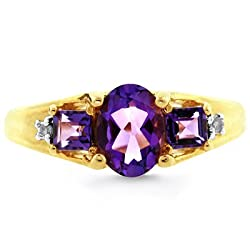 10K Yellow Gold Amethyst & Diamond Accent Ring
