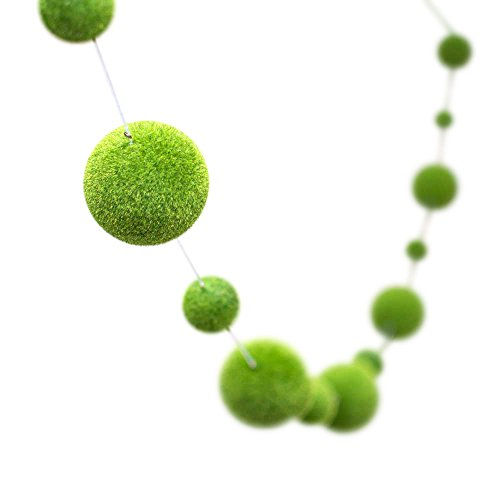 Moss Ball Garland, Felt Spheres, 6.5 feet, Spring, Summer, Greenery, Wedding, Holiday, Woodland, Garland, Café, Bistro, Restaurant, Venue, Home Décor, (Spring Green)