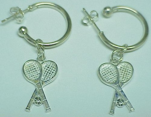 Crossed Tennis Racquet Earrings