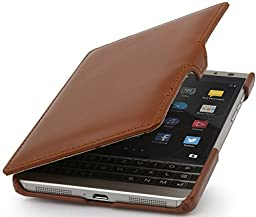 StilGut Book Type with Clip, Genuine Leather Case for BlackBerry Passport Silver Edition, Cognac Brown