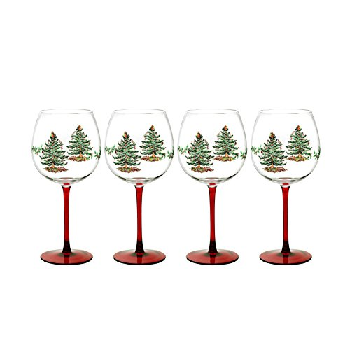 Spode Christmas Tree 13-ounce Wine Goblets with Red Stems (Set of 4)