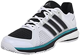 adidas Energy Boost Tennis Shoes, White/Black/Clear Onix Grey, 7.5 M US