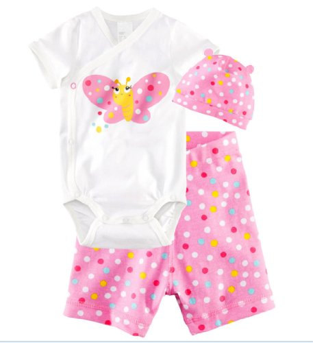 EzMarts Baby-girls Butterfly Polka Dot Hat & Jumpsuit& Pant Outfit (3 Piece)