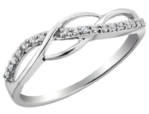 Diamond Promise Ring 1/10 Carat (ctw) in Sterling Silver, Size 5