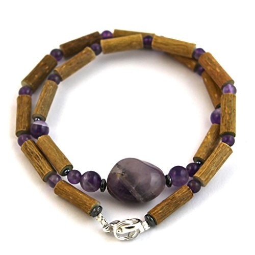 "Hazelaid (TM) Adult Hazelwood-Gemstone Necklace - 18"" Amethyst"