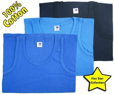 Mens 100% Cotton Vest Top Singlet Underwear Mixed Blues 3 pack Sky-Blue-Navy Size 4XL (4XLarge Chest 56