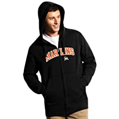 Miami Marlins Applique Full Zip Hooded Sweatshirt (Team Color) by Antigua