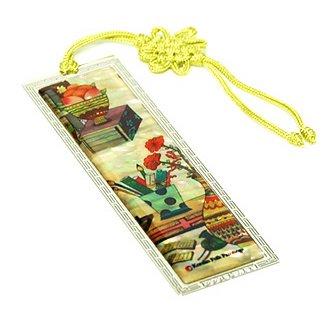 Lesezeichen, Perlmutt mit handgeknüpfter Quaste, handgemachtes orientalische Geschenk, Bücherregal.