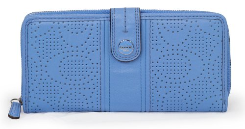 Coach Signature Stripe Perforated Accordion Zip With Tab Wallet F48794 (SV/Sky)