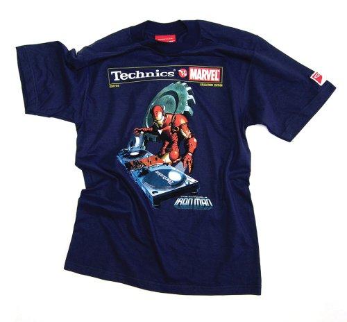 DMC Technics Marvel Ironman DJ Mens T-Shirt Navy Blue Tm10Ns Small