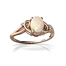buy 14Kt Rose Gold Opal And Diamond 7X5Mm Oval Swirls Ring - Size 7