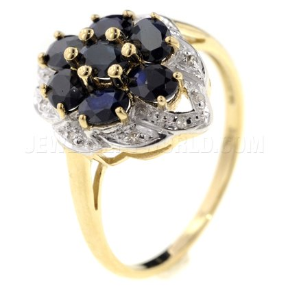 Sapphire 9ct Gold Ovals Ring