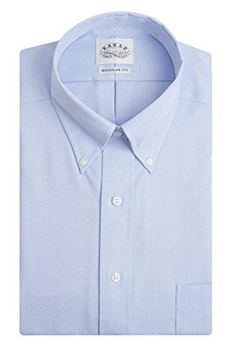 Eagle Men's Non Iron Regular Fit Solid Button Down Collar Dress Shirt, Blue Mist, 16.5