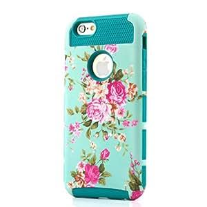 "iPhone 6 4.7"" Case MLOVE Tank Sereis Elegant Floral Flower Pattern Design Hybrid High Impact Hard Soft Armor Defender Case Cover(Cyan)"