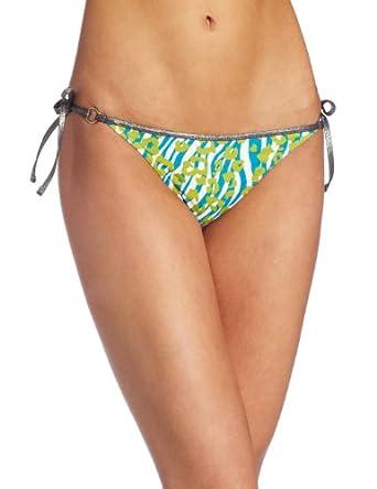 Calvin Klein Women's CK One Neo Skin String Classic Bikini Bottom,Cyan Blue,Large