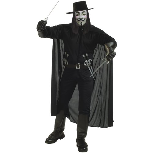 V for Vendetta Deluxe Adult Halloween Costume Size 44-46 XL