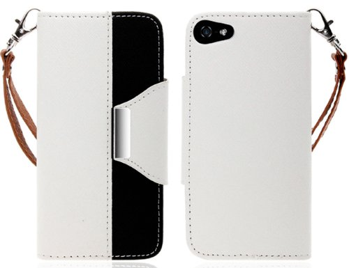 Mylife (Tm) White And Black Stylish Design - Textured Koskin Faux Leather (Card And Id Holder + Magnetic Detachable Closing) Slim Wallet For Iphone 5/5S (5G) 5Th Generation Itouch Smartphone By Apple (External Rugged Synthetic Leather With Magnetic Clip +