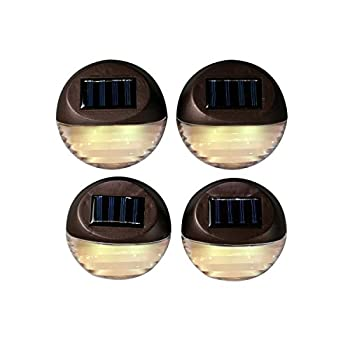 4 Brown Solar Security Fence Lights, Super Bright Warm White LEDs, Batteries Included, Best for Fences, Patios, Decks, Walkways, and Gardens