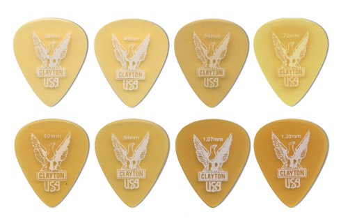 clayton-ultem-gold-standard-picks-12-pack-094-mm-transparent-gold