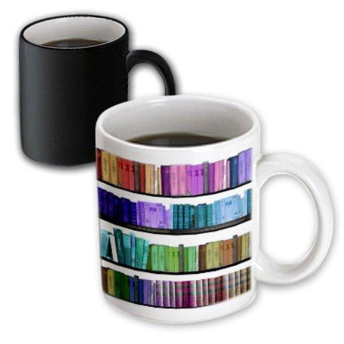 3dRose Colorful Bookshelf, Rainbow, Bookshelves-Reading, Geek Library, Magic Transforming Mug, 11-Oz