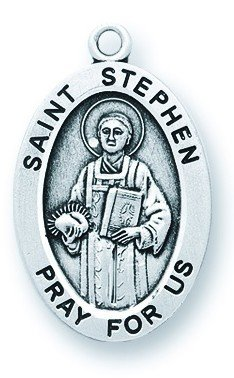 St. Stephen Pendant Oval Sterling Silver with Chain