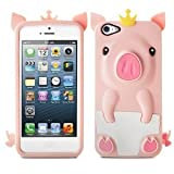 Lumii Ark Silicone Case for Apple iPhone 5 - 3D Pig (Light Pink)