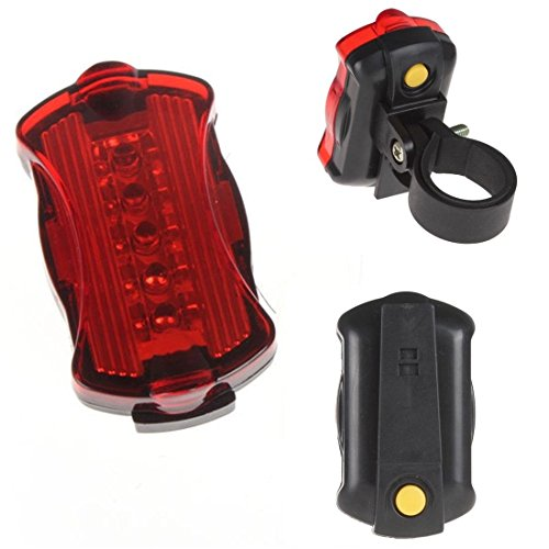 1 Pcs Awe-inspiring Modern Style 5 LED Bike Lights Waterproof Cycling Night Bicycle Rear Flashing Color Red with Mount