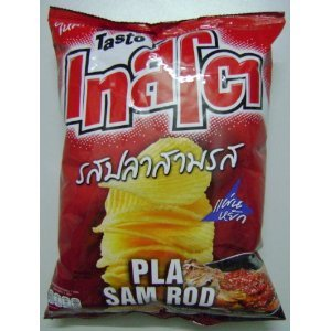 Thai Snack Tasto Seasoned Spicy Fish Flavor Potato Chips Ridge Cut 80g Pack Of 3