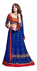 Khoobee Presents Women's Multi Embroidered Semi-Stitched Lahenga With UnStitched Blouse Piece.(Blue,Red)
