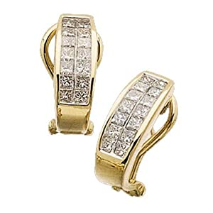 14K Yellow Gold Double Row Diamond Earrings