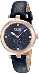 Burgi Women's BUR128BU  Round Blue Sunburst Effect Dial with Embossed Flower Quartz Rose Gold Tone Strap Watch