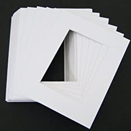 Golden State Art, Pack of 10 of 24x30 white Pre-cut Acid-free whitecore mat, fits 18x24 + backing