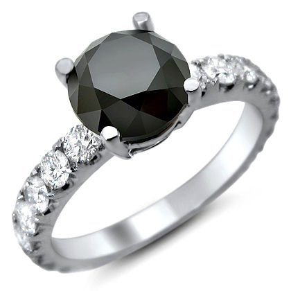 2.80ct Black Round Diamond Engagement Ring 18k