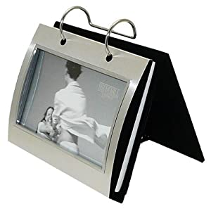 """Brushed Satin Silver-colour Free-Standing Flip Photo Album (Holds 50 6x4"""" photographs)"""