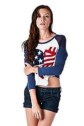 [The Classic Brand] White American Flag Heart Raglan Sweater Large