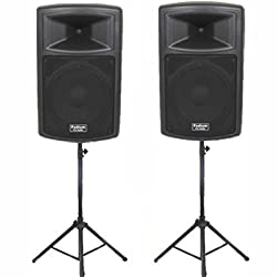 """Podium Pro Pair of 15"""" Pro Audio Powered 1800 Watt Speakers and Stands DJ Set and Bluetooth PP1503ASET1B by Podium Pro"""