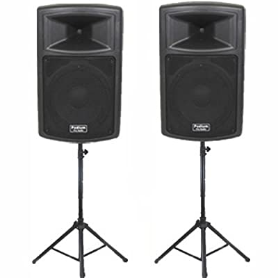 "Podium Pro Pair of 15"" Pro Audio Powered 1800 Watt Speakers and Stands DJ Set and Bluetooth PP1503ASET1B by Podium Pro"