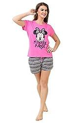 Brand Me Up women Minni mouse aztec print night suit short set round neck cap sleeve night suit set - L Size(Pink)