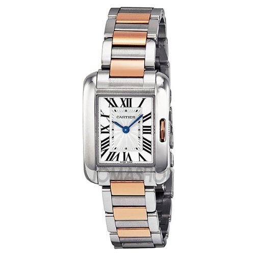 Cartier Tank Anglaise Small Automatic Silver Dial 18 kt Rose Gold and Steel Ladies Watch W5310019