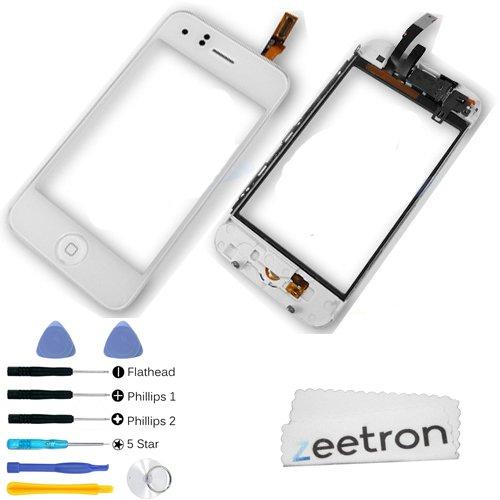 Zeetron Iphone 3Gs White Glass Screen Digitizer Assembly + 7 Piece Tool Kit + Screen Protector + Zeetron Microfiber Cloth