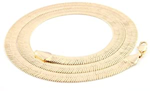 Gold 11mm 30 Inch Herringbone Chain Necklace