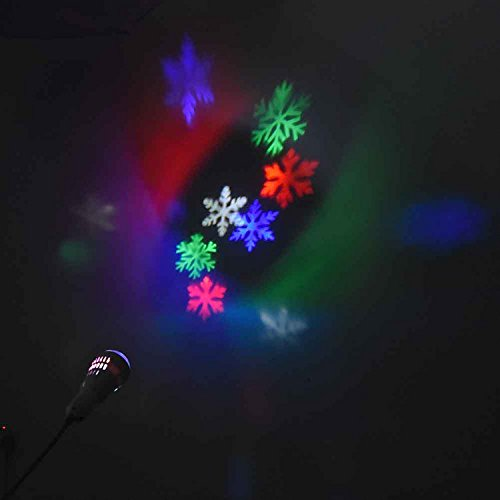 Beisaqi 4W E27 RGB Rotating Light Bulb for Bar Disco DJ Christmas New Year Party-Colorful Snowflake