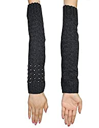Womens Winter Long Ribbed Knit Thermal Arm Warmers with Metal Studs one size Dark Grey