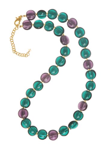 The Jewellery Factory Gold Plated Teal and Purple Murano Style Disc Bead Necklace of 50.0cm